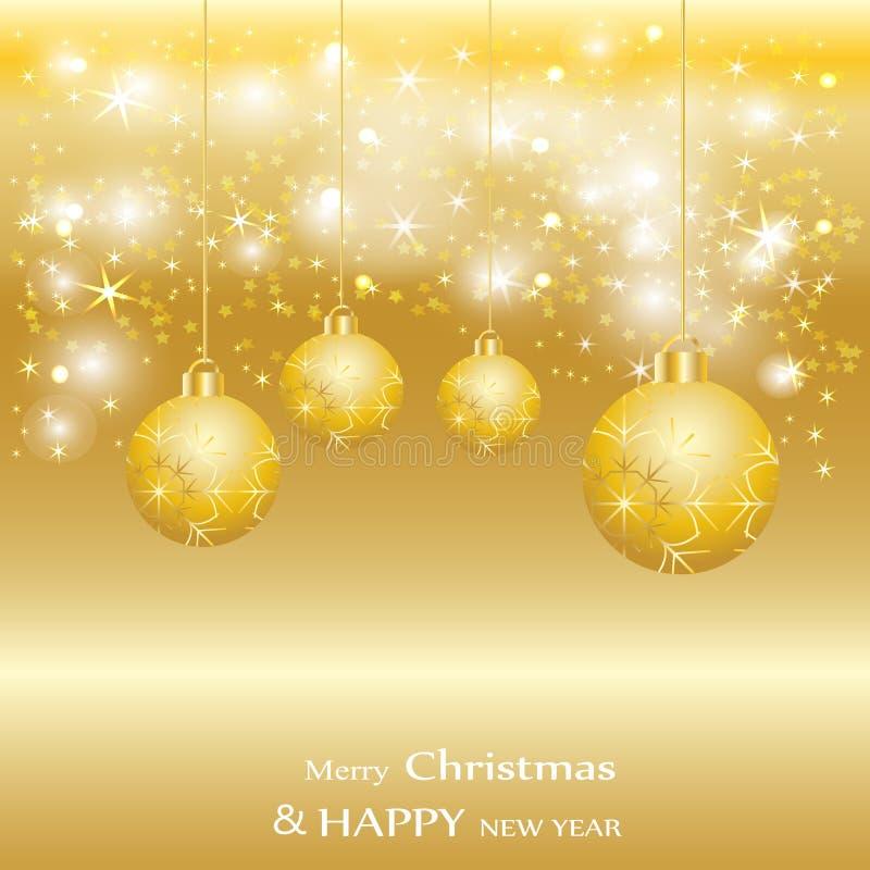 Gouden Kerstmisballen, vakantie glanzende achtergrond stock illustratie