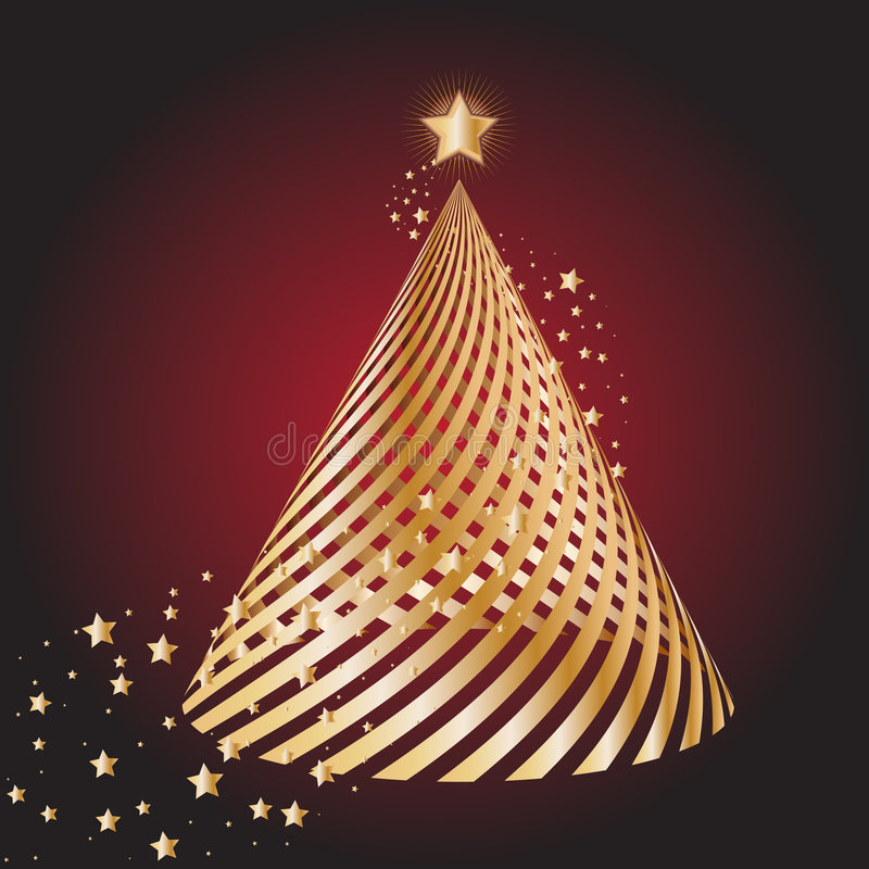 Gouden Kerstmisboom royalty-vrije illustratie