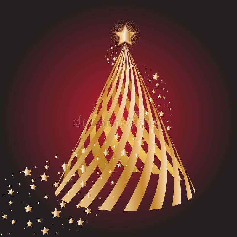Gouden Kerstmisboom vector illustratie