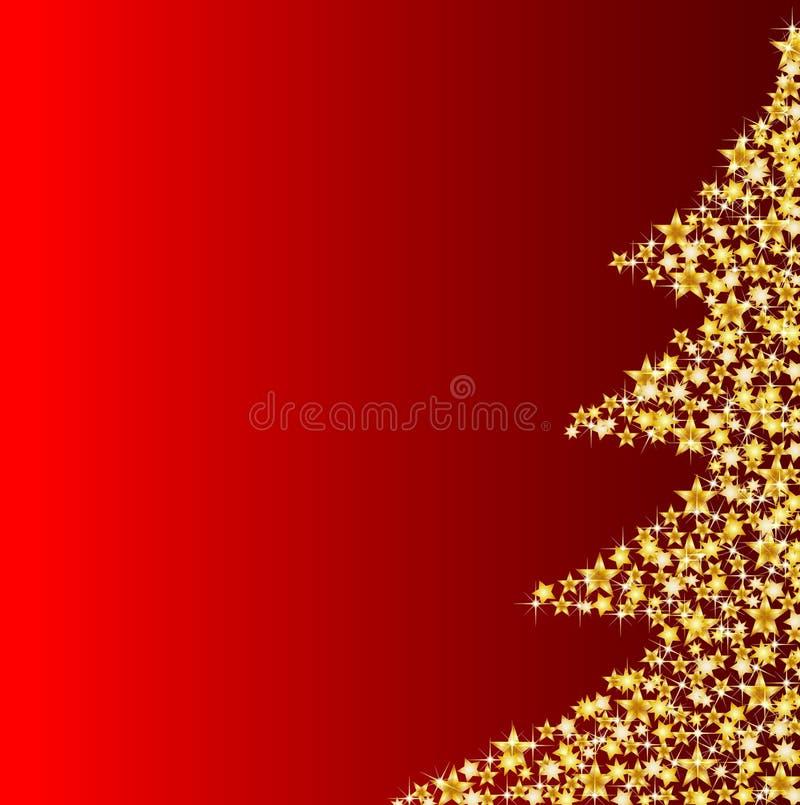 Gouden Kerstmisboom op rode achtergrond stock illustratie