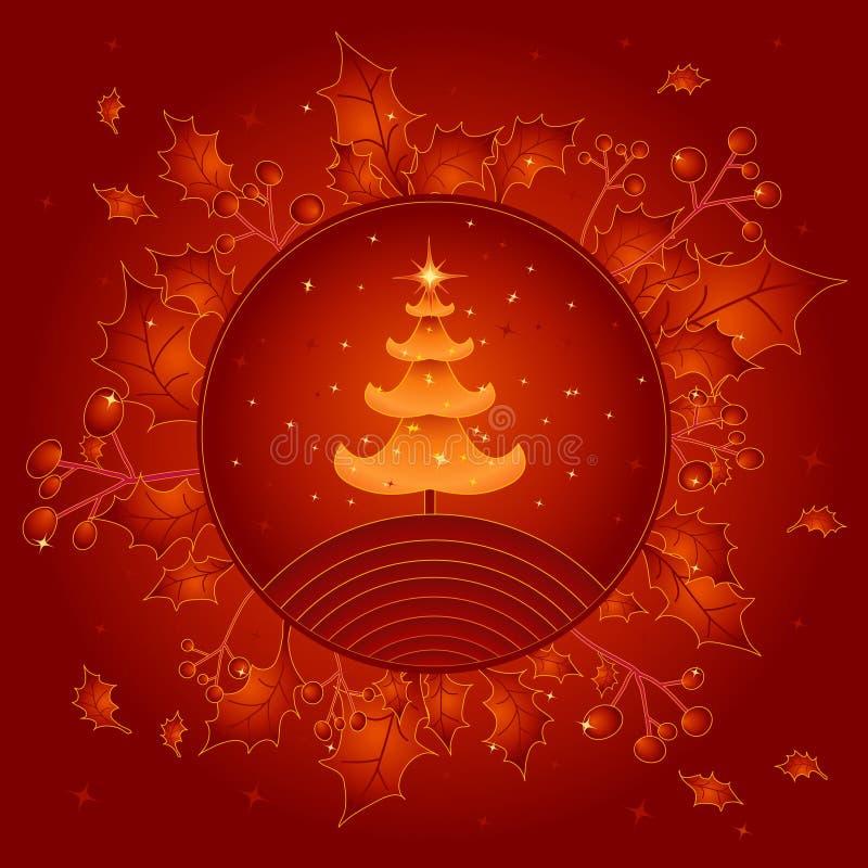 Gouden Kerstmisboom, vector   royalty-vrije illustratie