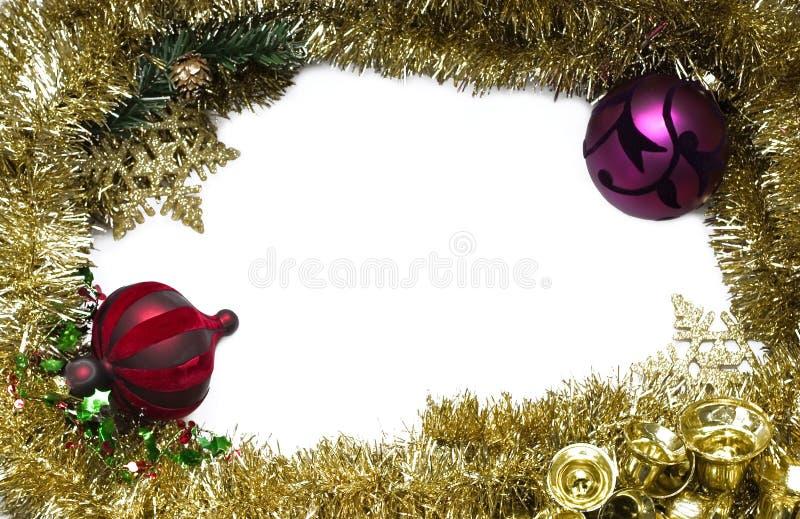 Gouden Kerstmisframe stock afbeelding