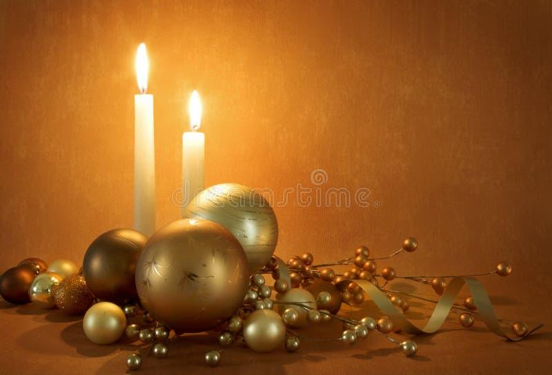 Gouden Kerstmisscène stock foto