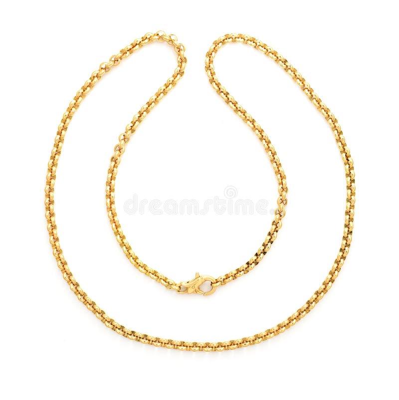 Gouden ketting die op wit wordt geïsoleerdu stock afbeeldingen