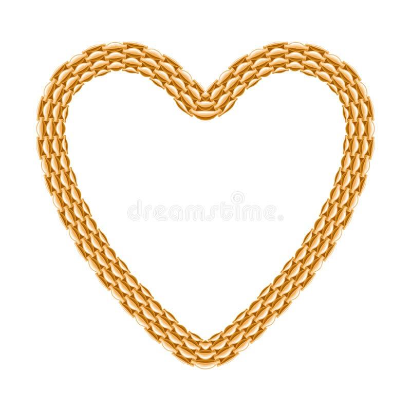 gouden ketting - hartkader stock illustratie