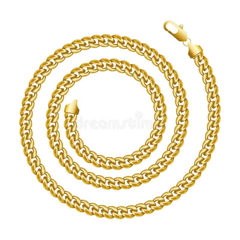 Gouden ketting om spiraalvormig grenskader De vorm van de krooncirkel vector illustratie