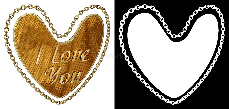 Gouden ketting in vorm van hart op witte achtergrond met alpha- kanaal 3D Illustratie vector illustratie