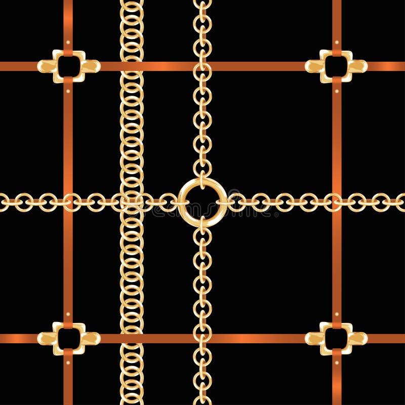 Gouden kettingen en riemen, naadloos patroon Het barokke patroon van de stijlmanier met kettingen en riemen royalty-vrije illustratie