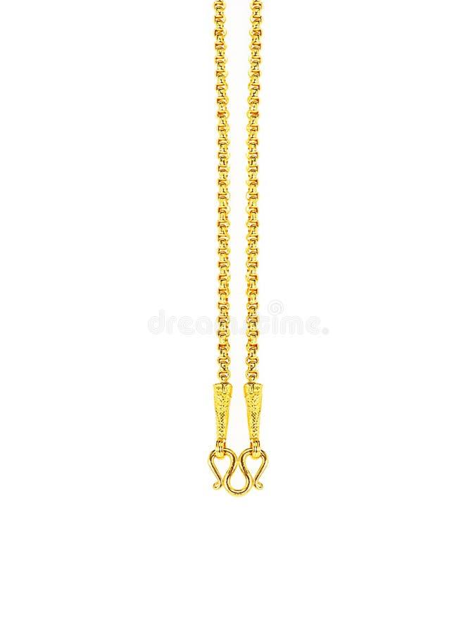 Gouden kettingshalsband die op witte achtergrond wordt geïsoleerd stock foto