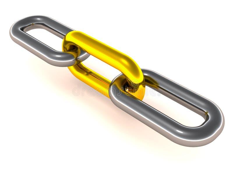 Gouden kettingslink royalty-vrije illustratie
