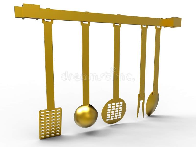 Gouden keukengereedschap stock illustratie