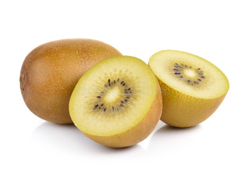 Gouden kiwifruit op witte achtergrond stock foto's