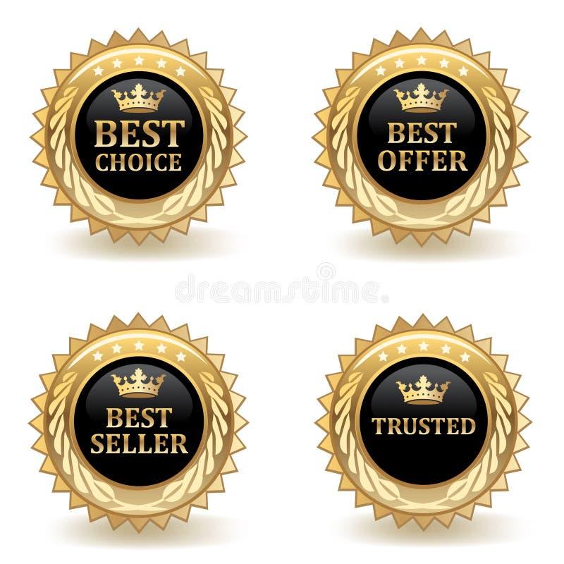 Gouden Kleinhandelskentekens vector illustratie