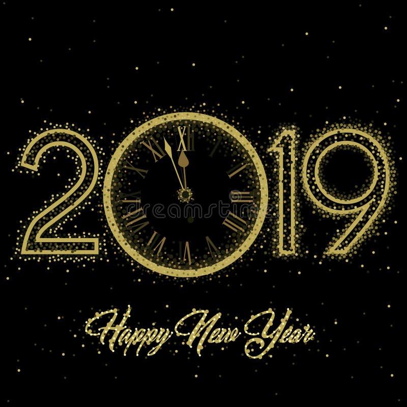 Gouden Klok die op aftelprocedure aan de Klok van 12 O ` 2019 Nieuwjaar` s Vooravond op een zwarte achtergrond wijzen vector illustratie