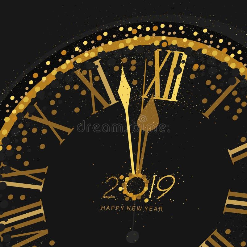 Gouden Klok die op aftelprocedure aan de Klok van 12 O ` 2019 Nieuwjaar` s Vooravond op een zwarte achtergrond wijzen royalty-vrije illustratie