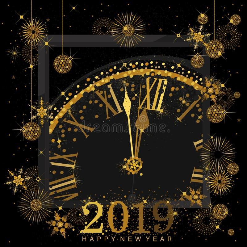 Gouden Klok die op aftelprocedure aan de Klok van 12 O ` 2019 Nieuwjaar` s Vooravond op een zwarte achtergrond wijzen stock illustratie
