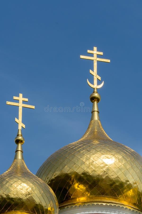 Gouden koepels van Shipka-kerk, Bulgarije stock afbeeldingen