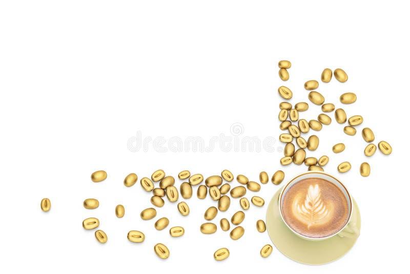 Gouden koffiebonen met koffie op witte achtergrond 3d illustrat stock illustratie