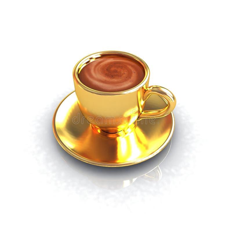 Gouden koffiekop op schotel royalty-vrije illustratie