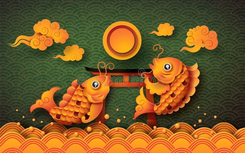 Gouden koivissen met fullmoon vector illustratie