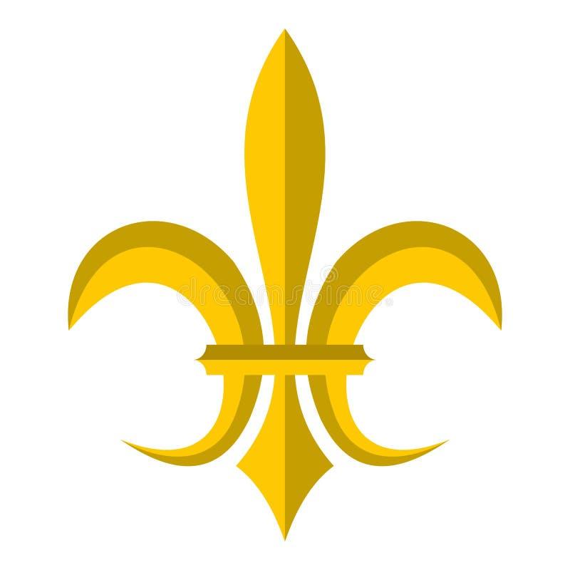 Gouden koninklijk leliepictogram, vlakke stijl stock illustratie