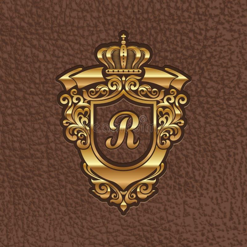 Gouden koninklijk wapenschild royalty-vrije illustratie