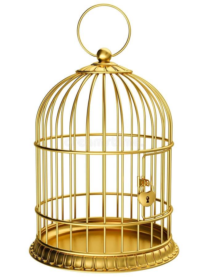 Gouden kooi stock illustratie
