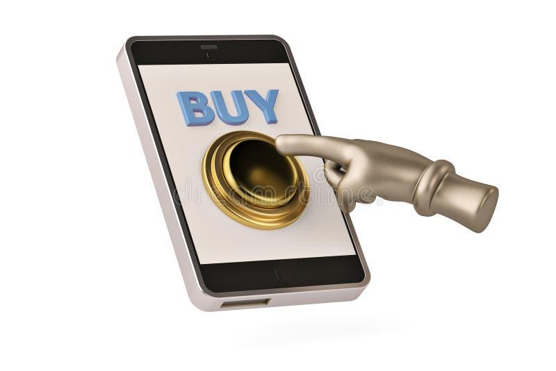 Gouden koop knoop op mobiele telefoon 3D Illustratie royalty-vrije illustratie