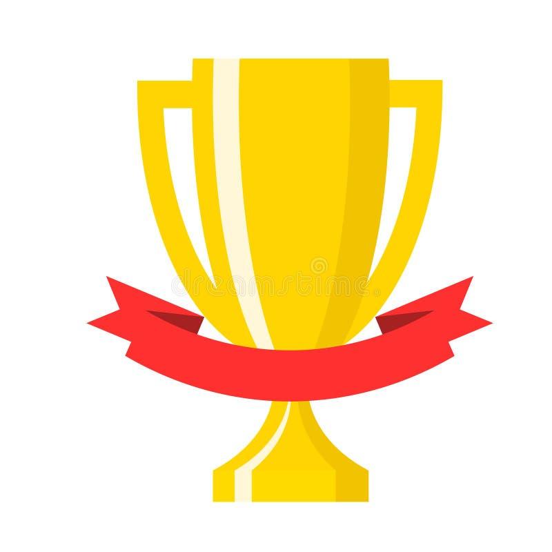 Gouden kop van de winnaar de gouden trofee met rode lint vlakke vectorpictogrammen FO vector illustratie