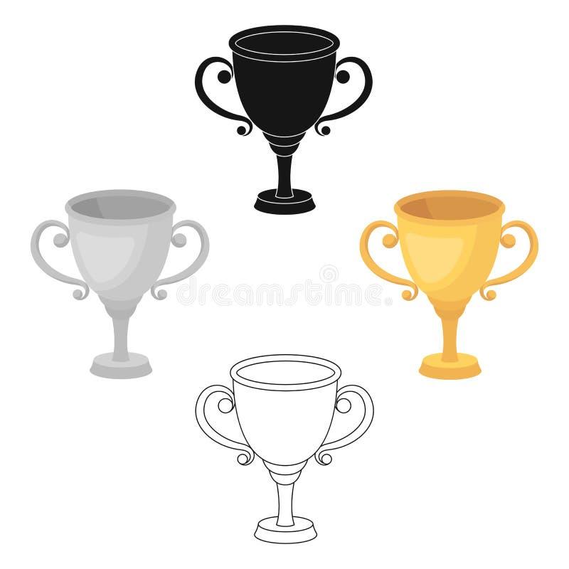 Gouden Kop voor de eerste plaats De toekenningswinnaar van de het rennen concurrentie De toekenning en de trofeeën kiezen pictogr royalty-vrije illustratie