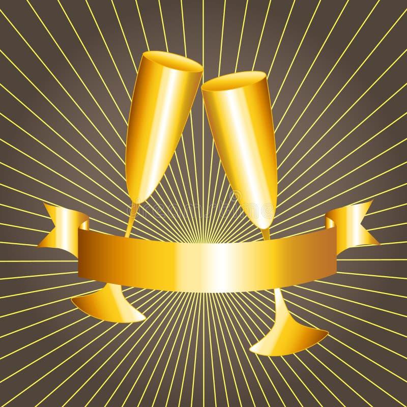 Gouden koppen en lintbanner stock illustratie