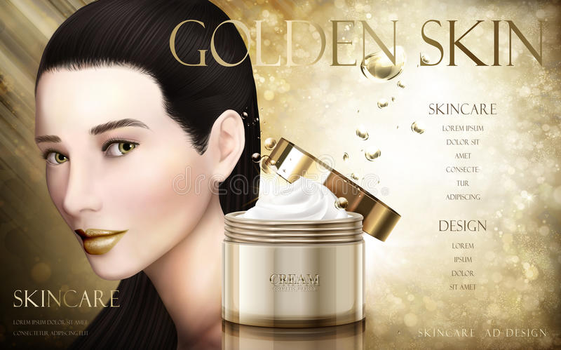 Gouden kosmetische roomadvertentie vector illustratie