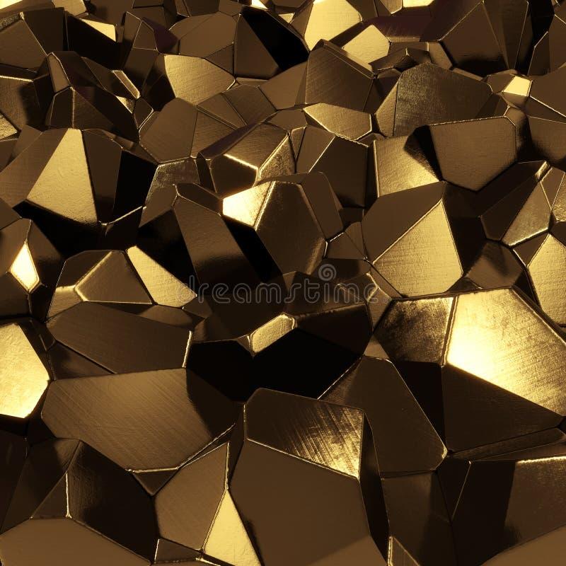 Gouden kristallen stock illustratie