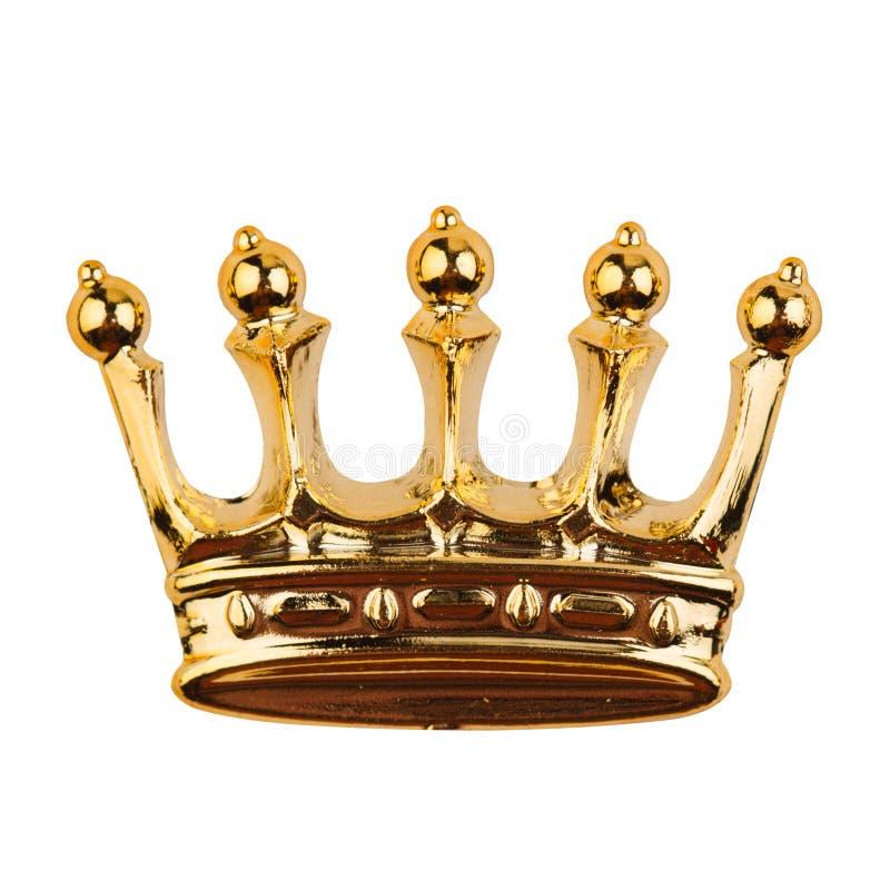Gouden kroon die op wit wordt geïsoleerdX royalty-vrije stock afbeeldingen
