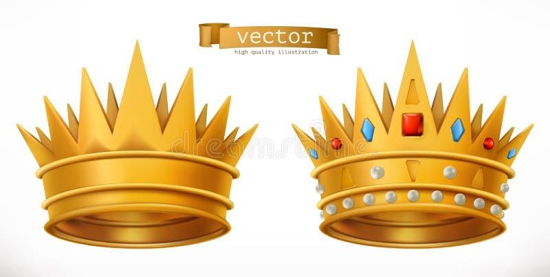 Gouden kroon, koning 3d vectorpictogram stock illustratie