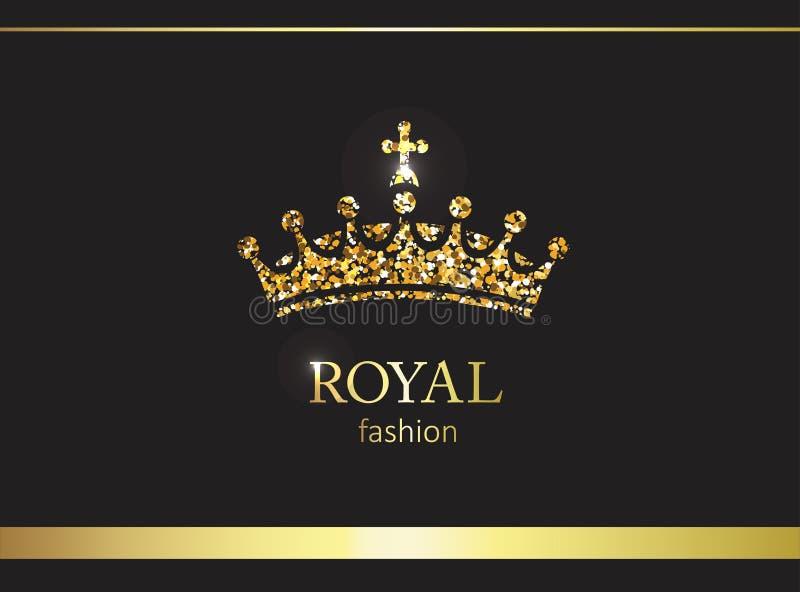 Gouden kroon Luxeetiket, embleem of verpakking Zonnepaneel en teken voor alternatieve energie stock illustratie