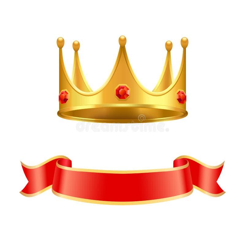 Gouden Kroon met de Krullint van Ruby Gem en van de Zijde royalty-vrije illustratie