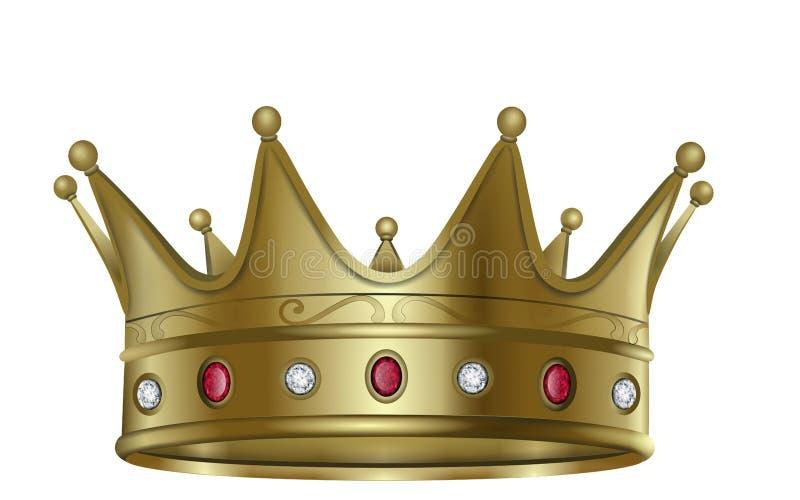 Gouden kroon met diamanten en robijnenvector vector illustratie