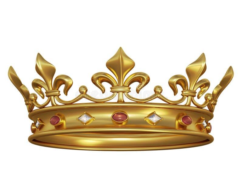 Gouden kroon met juwelen royalty-vrije illustratie
