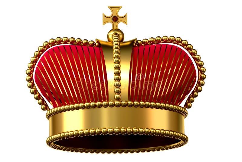 Gouden kroon met juwelen en rood fluweel royalty-vrije illustratie