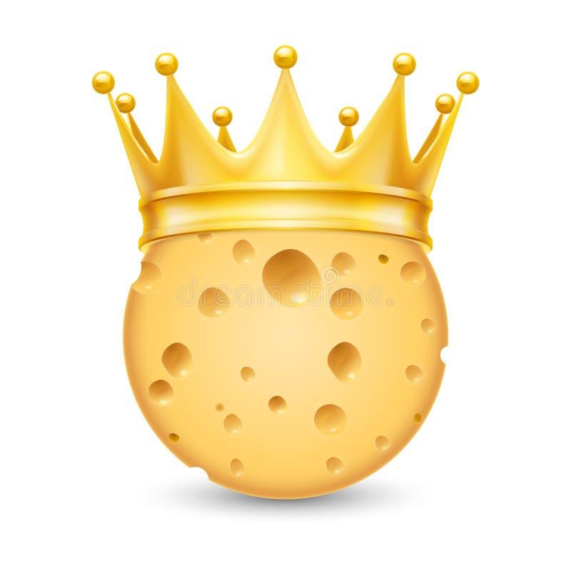 Gouden kroon op kaas royalty-vrije illustratie