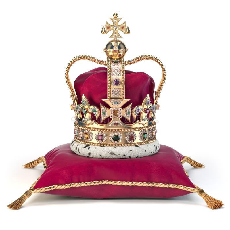 Gouden kroon op rood fluweelhoofdkussen voor kroning Koninklijk symbool van Britse Britse monarchie royalty-vrije illustratie