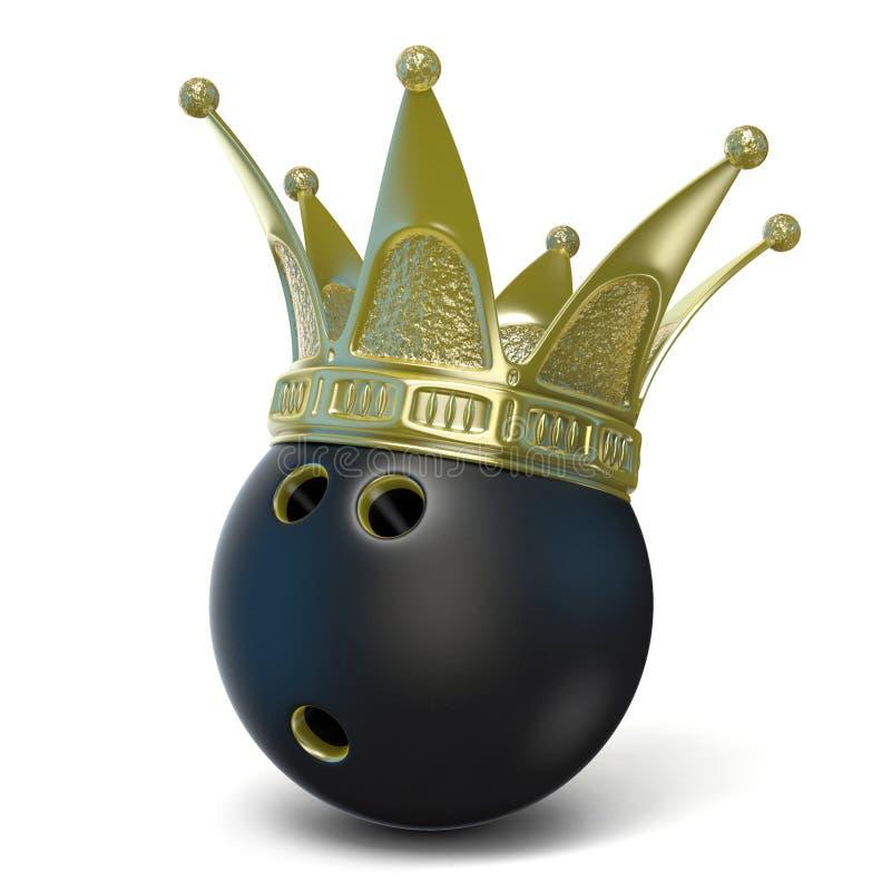 Gouden kroon op zwarte kegelenbal 3d geef terug vector illustratie