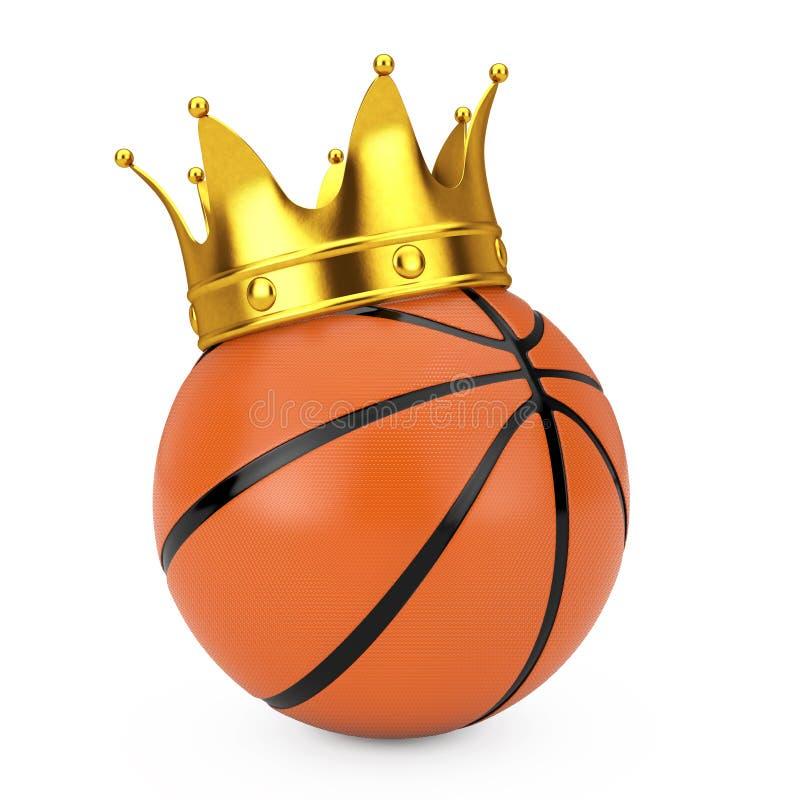 Gouden Kroon over Oranje Basketbalbal het 3d teruggeven royalty-vrije illustratie