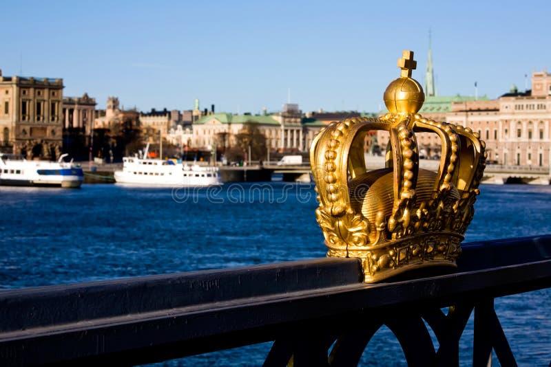 Gouden kroon in Stockholm royalty-vrije stock afbeelding