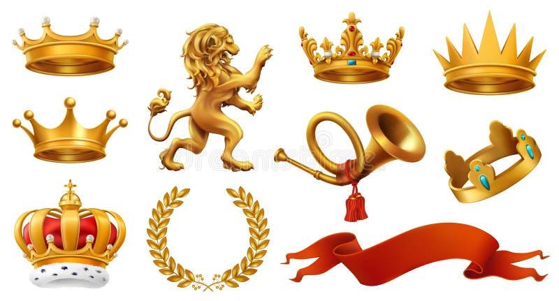 Gouden kroon van de koning Lauwerkrans, trompet, leeuw, lint Drie kleurenpictogrammen op kartonmarkeringen stock illustratie