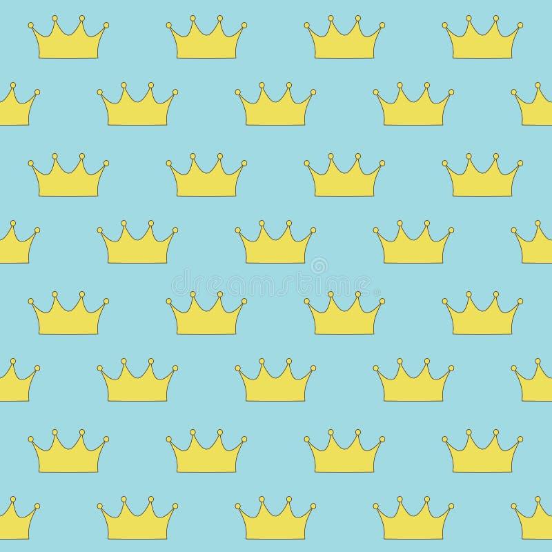 Gouden kroonprinses of koningin op blauw naadloos patroon als achtergrond royalty-vrije stock afbeeldingen