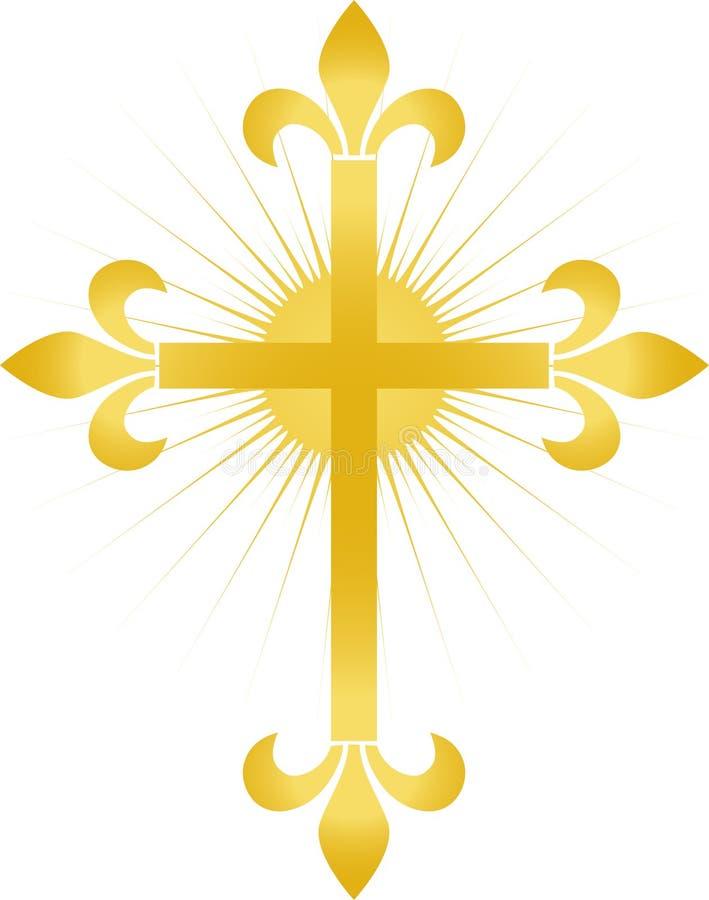 Gouden Kruis Fleur/eps vector illustratie