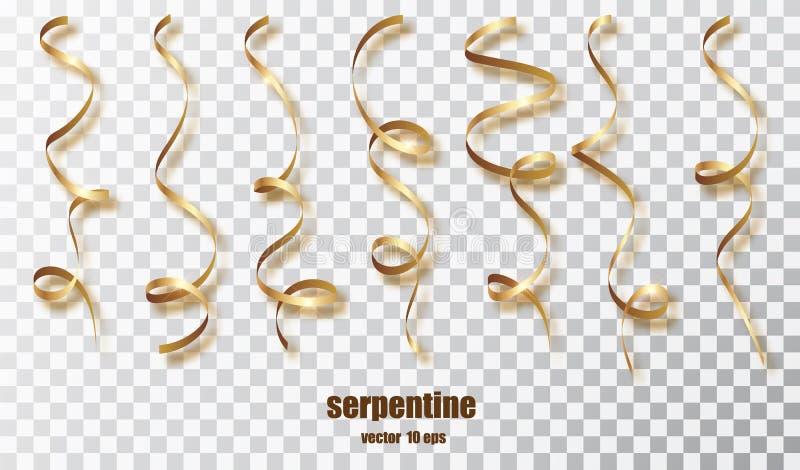 Gouden krullende lint kronkelige confettien Gouden die wimpels op transparante achtergrond worden geplaatst De kleurrijke partij  vector illustratie