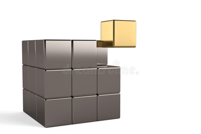 Gouden kubus en staalkubussen op witte achtergrond 3D Illustratie royalty-vrije illustratie
